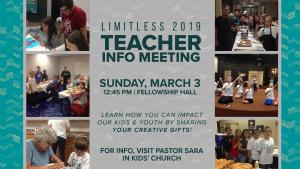 Limitless 2019 Teacher Info Meeting @ Encourager Church - Fellowship Hall | Houston | Texas | United States